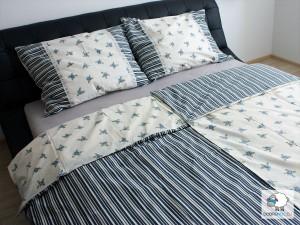 Bavlnené posteľné obliečky: Modré kvietky a prúžky s čipkou