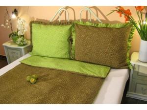 Posteľné obliečky: Zelené kvietky s volánom