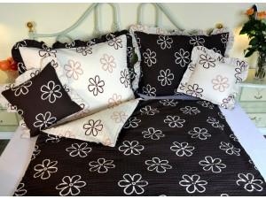 Posteľné obliečky: Smotanovo-hnedé kvety s volánom
