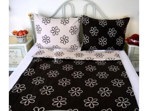 Posteľné obliečky: Smotanovo - hnedé kvety