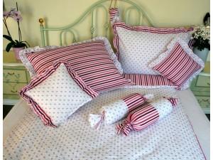 Krepové posteľné obliečky: Ružová nezábudka s volánom