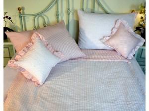 Krepové posteľné obliečky: Lososové kvietky a prúžky svetlé