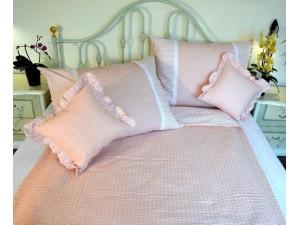 Krepové posteľné obliečky: Lososové kvietky a prúžky tmavé s čipkou
