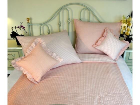 Krepové posteľné obliečky: Lososové kvietky a prúžky tmavé