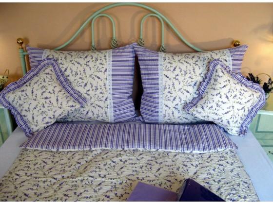 Krepové posteľné obliečky: Levanduľa s čipkou
