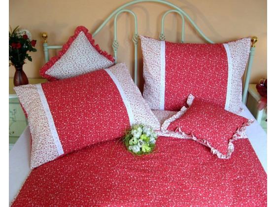 Krepové posteľné obliečky: Svetločervené kvietky s čipkou