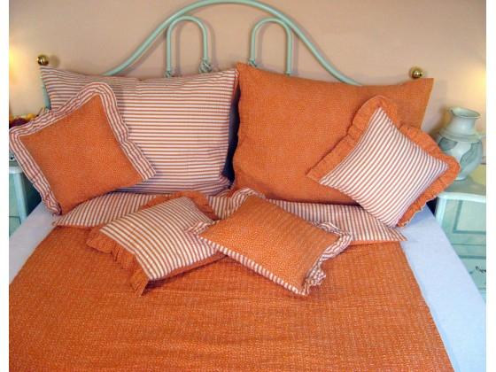 Krepové posteľné obliečky: Oranžové kvietky a prúžky