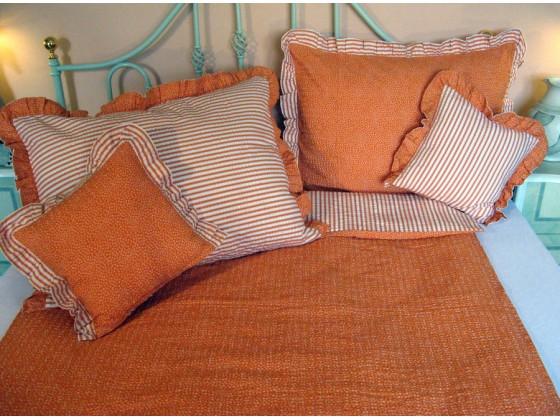 Krepové posteľné obliečky: Oranžové kvietky a prúžky s volánom