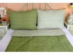Krepové posteľné obliečky: Olivové kvietky a prúžky
