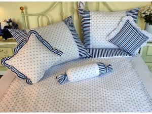 Bavlnené posteľné obliečky: Modrá nezábudka s čipkou