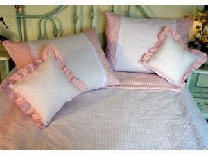 Bavlnené posteľné obliečky: Lososové kvietky a prúžky svetlé s čipkou