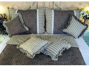 Bavlnené posteľné obliečky: Banánové kvietky a prúžky s čipkou