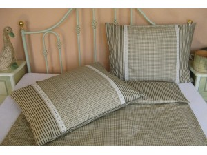 Bavlnené posteľné obliečky: Zelené kocečky s čipkou