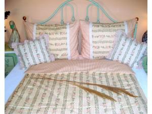 Bavlnené posteľné obliečky: Ružové kvietky a prúžky s čipkou
