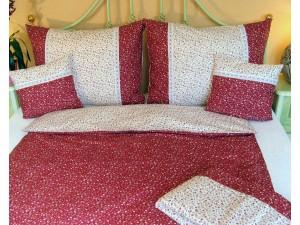 Bavlnené posteľné obliečky: Červené kvietky s čipkou