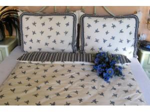 Bavlnené posteľné obliečky: Modré kvietky a prúžky s volánom