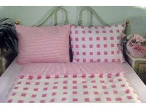 Bavlnené posteľné obliečky: Ružové štvorčeky