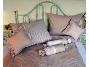 Bavlnené posteľné obliečky: Orieškovo hnedé kvietky a prúžky tmavé