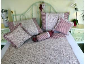 Bavlnené posteľné obliečky: Vínové kvietky a prúžky s čipkou