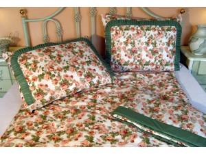 Bavlnené posteľné obliečky: Staroanglická tapetová ruža so zeleným volánom